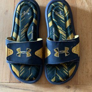 Under Armour Foam Slides Navy Gold